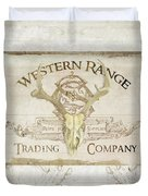 Western Range 3 Old West Deer Skull Wooden Sign Trading Company Duvet Cover