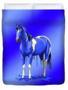 Royal Blue Wet Paint Horse Duvet Cover
