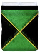 Flag Of Jamaica Grunge Duvet Cover