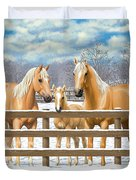 Palomino Quarter Horses In Snow Duvet Cover by Crista Forest