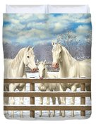 White Quarter Horses In Snow Duvet Cover