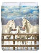 White Quarter Horses In Snow Duvet Cover