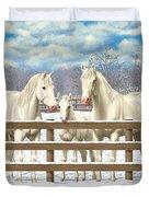 White Quarter Horses In Snow Duvet Cover by Crista Forest