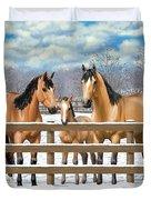 Buckskin Quarter Horses In Snow Duvet Cover