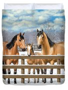 Buckskin Quarter Horses In Snow Duvet Cover by Crista Forest