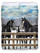 Black Quarter Horses In Snow Duvet Cover by Crista Forest
