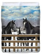 Black Quarter Horses In Snow Duvet Cover by Crista Forest