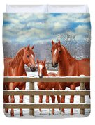 Red Sorrel Quarter Horses In Snow Duvet Cover by Crista Forest