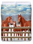 Red Sorrel Quarter Horses In Snow Duvet Cover by Crista Forest