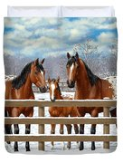 Bay Appaloosa Horses In Snow Duvet Cover by Crista Forest
