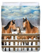 Buckskin Appaloosa Horses In Snow Duvet Cover by Crista Forest