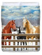 Chestnut Appaloosa Palomino Pinto Black Foal Horses In Snow Duvet Cover by Crista Forest