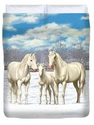 White Horses In Winter Pasture Duvet Cover by Crista Forest