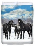 Black Horses In Winter Pasture Duvet Cover