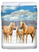 Palomino Horses In Winter Pasture Duvet Cover