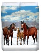 Bay Horses In Winter Pasture Duvet Cover