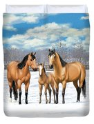 Buckskin Horses In Winter Pasture Duvet Cover
