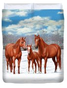 Chestnut Horses In Winter Pasture Duvet Cover by Crista Forest