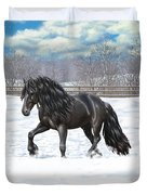 Black Friesian Horse In Snow Duvet Cover