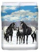 Black Appaloosa Horses In Winter Pasture Duvet Cover