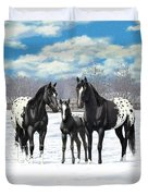 Black Appaloosa Horses In Winter Pasture Duvet Cover