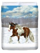 Bay Pinto Gypsy Vanner In Snow Duvet Cover