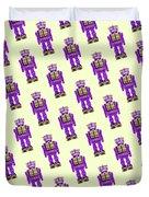 Star Strider Robot Purple Pattern Duvet Cover