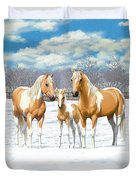 Palomino Paint Horses In Winter Pasture Duvet Cover