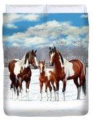 Bay Paint Horses In Winter Duvet Cover