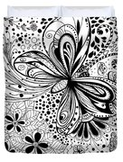Butterfly And Flowers, Doodles Duvet Cover