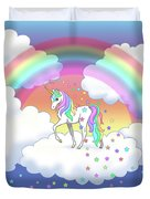 Rainbow Unicorn Clouds And Stars Duvet Cover
