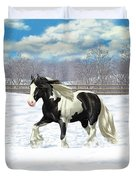 Black Pinto Gypsy Vanner In Snow Duvet Cover