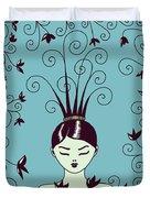 Strange Hairstyle And Flowery Swirls Duvet Cover