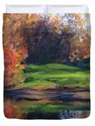 Autumn By Water Duvet Cover