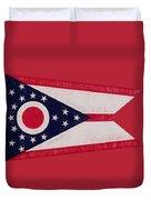 Flag Of Ohio Grunge Duvet Cover
