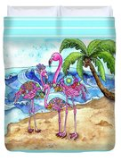 The Flamingo Family's Day At The Beach Duvet Cover