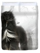 Black And Tan Afghan Hound In The Wind Duvet Cover