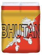 Flag Of Bhutan Word Duvet Cover