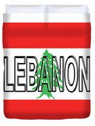 Flag Of Lebanon Word Duvet Cover
