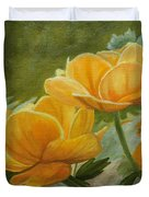 Butterfly Among Yellow Flowers Duvet Cover