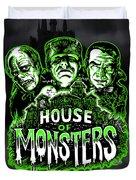 House Of Monsters Frankenstein Dracula Phantom Horror Movie Art Duvet Cover