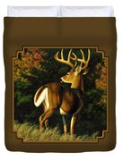 Whitetail Buck - Indecision Duvet Cover by Crista Forest