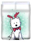 Kiniart Westie Reindeer Duvet Cover
