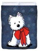 Kiniart Westie In Red Bow Duvet Cover