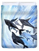 Whale Family On Sun Ray Duvet Cover