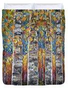 Colourful Autumn Aspen Trees By Lena Owens @olena Art Duvet Cover