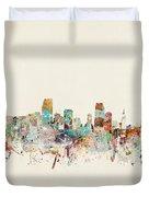 Miami Florida City Skyline Duvet Cover