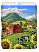 Sunflowers Cows Appalachian Farm Landscape - Rural Americana - Farm Animals - 1950 Farm Life - Barn Duvet Cover