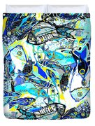 Blues Fishes Duvet Cover