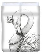 Flamingo In Pearl Necklace Duvet Cover